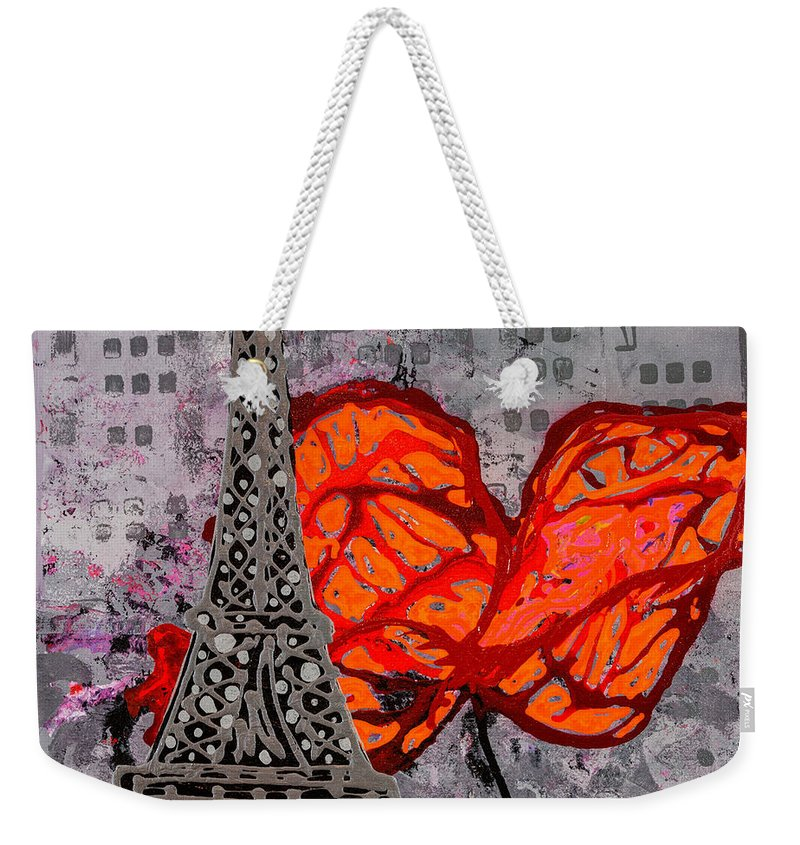 Eiffel Tower Weekender Tote Bag featuring the painting Beside You All The Way by Sheila McPhee