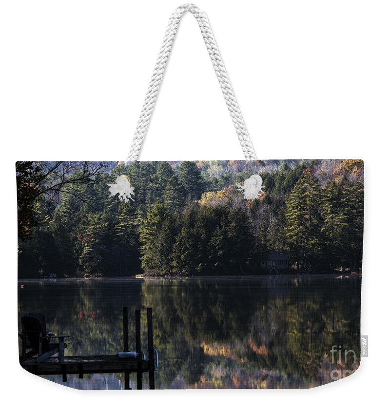 Dock Weekender Tote Bag featuring the photograph Best Chair At The Pond by Sherman Perry