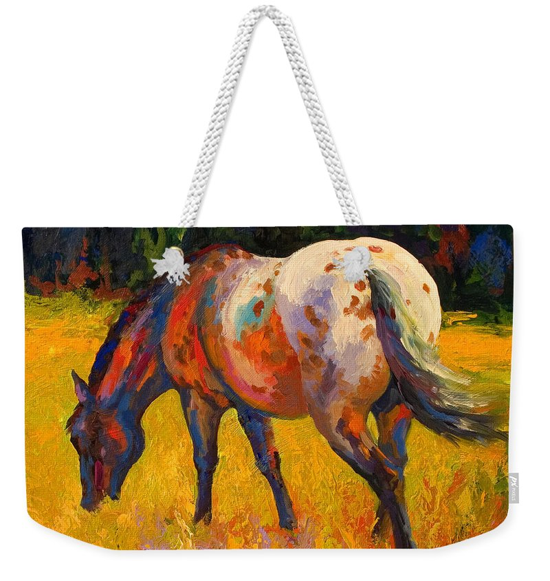 Horses Weekender Tote Bag featuring the painting Best End Of An Appy by Marion Rose