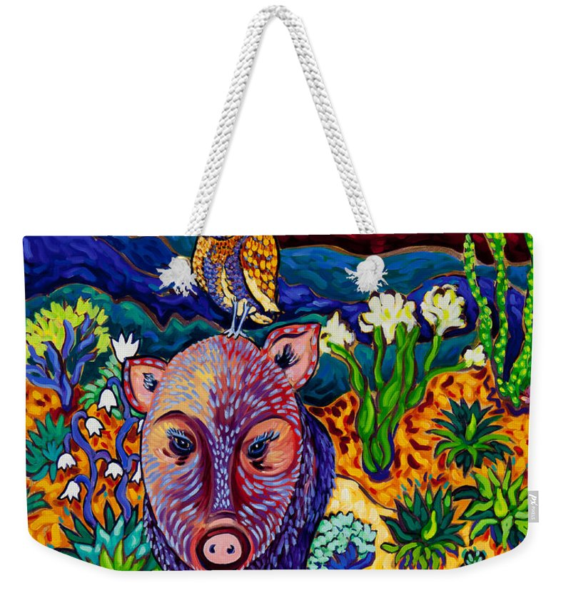Javelina Weekender Tote Bag featuring the painting Best Friends Forever by Cathy Carey