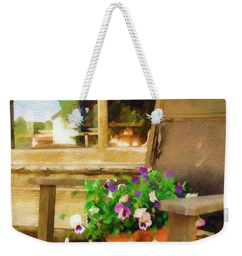 Pansies Weekender Tote Bag featuring the photograph Best Seat In The House by Sandy MacGowan