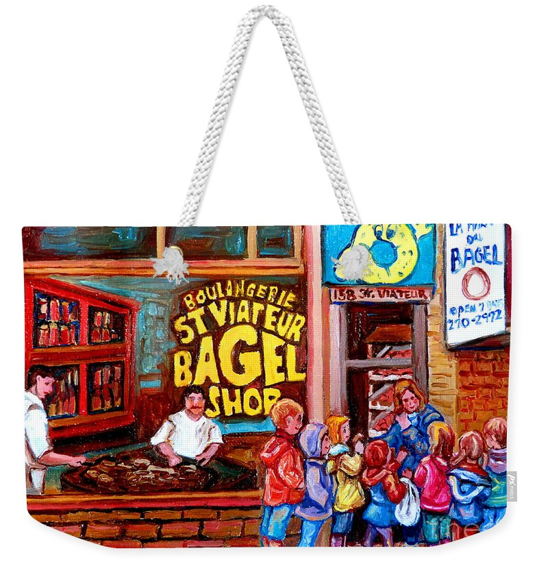 Children Weekender Tote Bag featuring the painting Bet You Cant Eat Just One by Carole Spandau