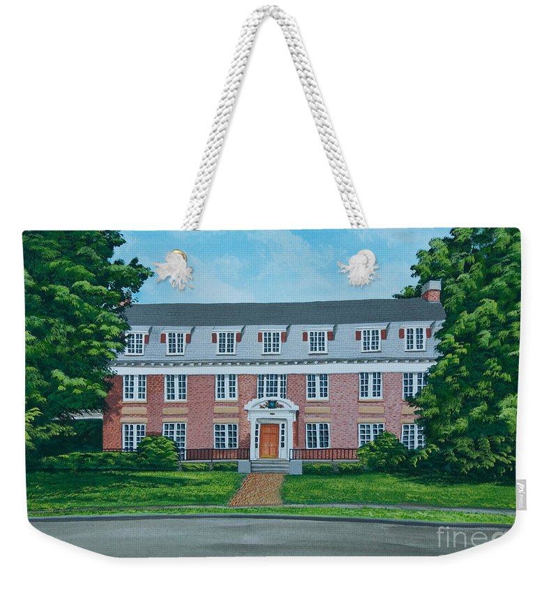 Beta Theta Pi Painting Weekender Tote Bag featuring the photograph Beta Theta Pi by Charlotte Blanchard