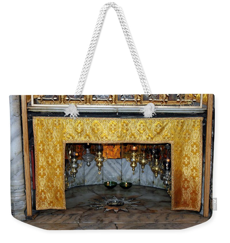 Bethlehem Weekender Tote Bag featuring the photograph Bethlehem - Grotto Silver Star by Munir Alawi