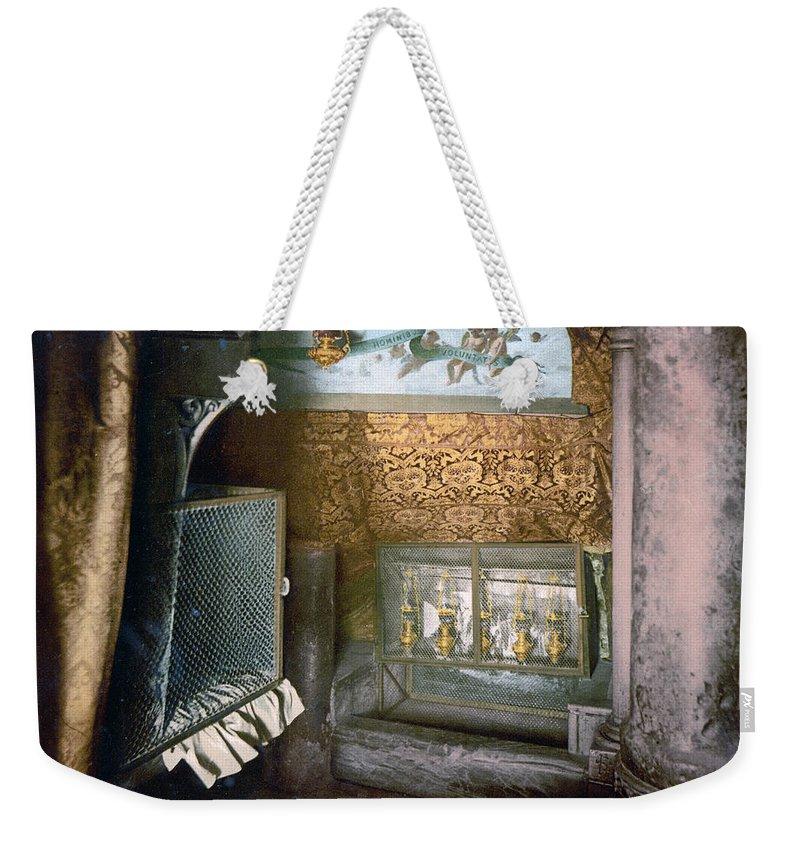 Church Weekender Tote Bag featuring the photograph Bethlehem - Nativity Church 1890 by Munir Alawi