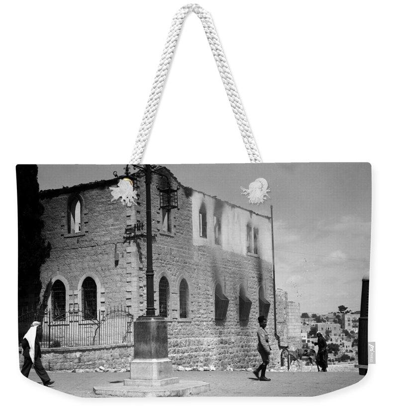 Bethlehem Weekender Tote Bag featuring the photograph Bethlehem Police Barracks Burned Down On 1938 by Munir Alawi