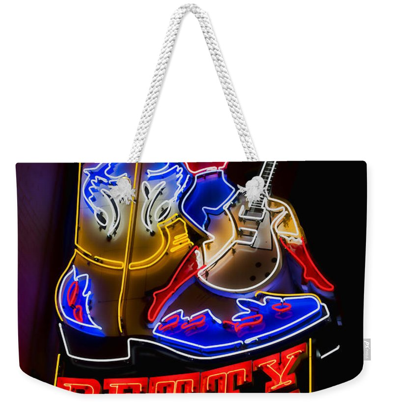 Nashville Weekender Tote Bag featuring the photograph Betty Boots by Stephen Stookey