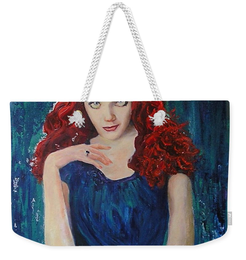Flamenco Weekender Tote Bag featuring the painting Betty by Sylva Zalmanson