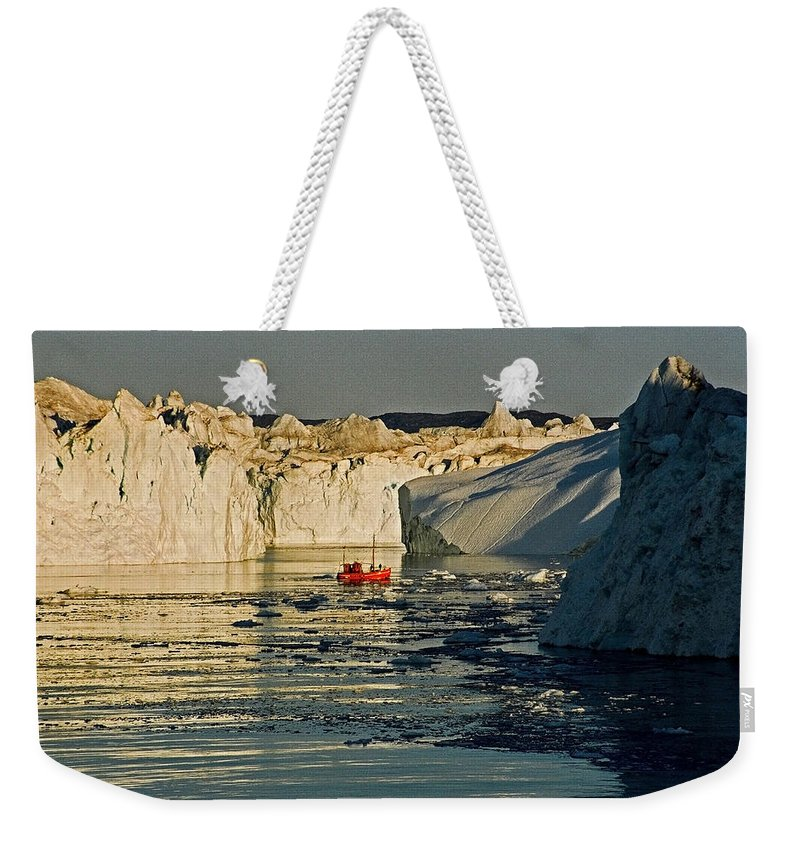 Greenland Weekender Tote Bag featuring the photograph Between Icebergs - Greenland by Juergen Weiss