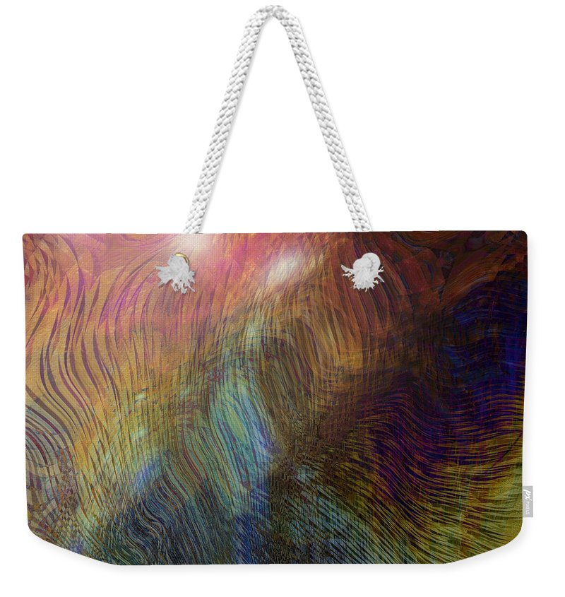 Abstract Art Weekender Tote Bag featuring the digital art Between The Lines by Linda Sannuti