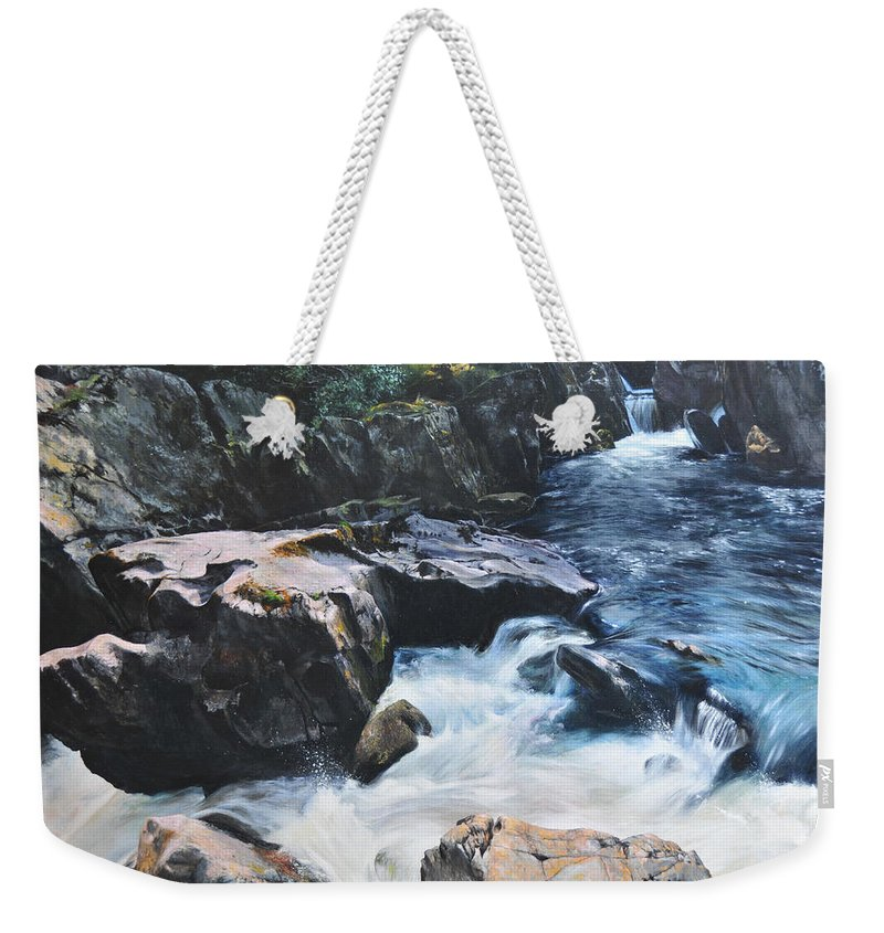 Landscape Weekender Tote Bag featuring the painting Betws-y-coed Waterfall by Harry Robertson