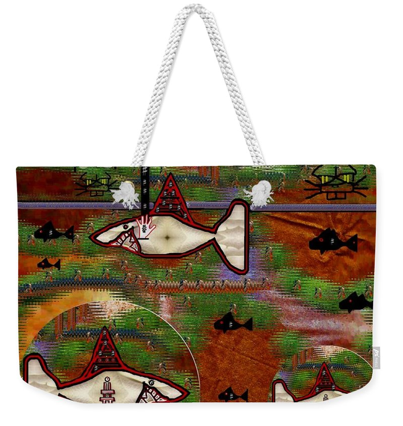 Shark Weekender Tote Bag featuring the mixed media Beware Of The Dog by Pepita Selles
