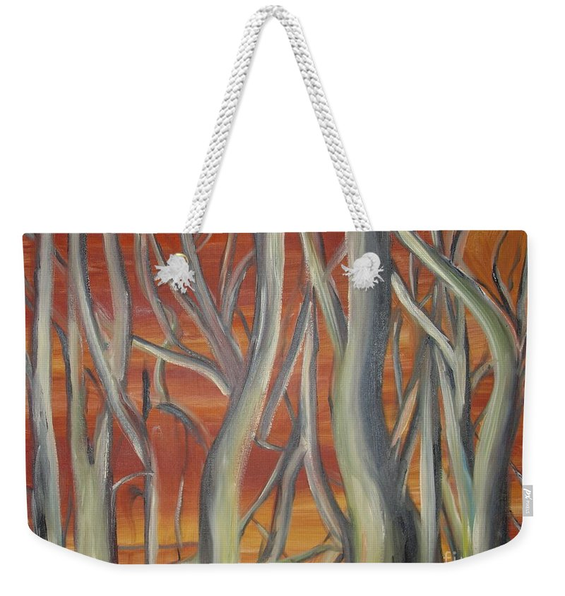 Trees Forest Original Painting Abstract Weekender Tote Bag featuring the painting Beyond by Leila Atkinson