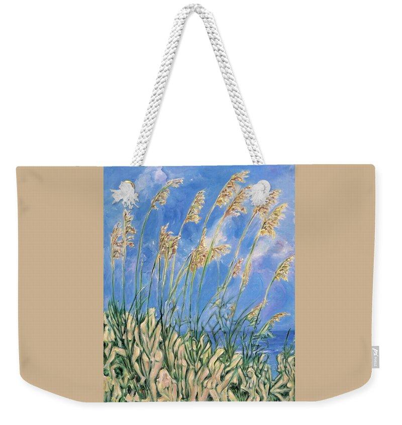 Sand Dunes Weekender Tote Bag featuring the painting Beyond The Dunes by Maya Soaringsun