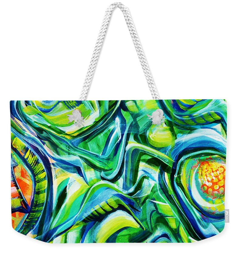 New Weekender Tote Bag featuring the painting Beyond The Unknown - Right by Larry Calabrese