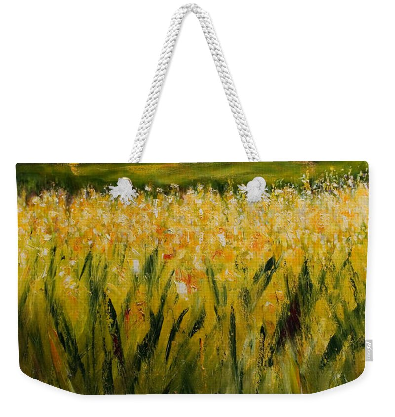 Landscape Weekender Tote Bag featuring the painting Beyond The Valley by Shannon Grissom
