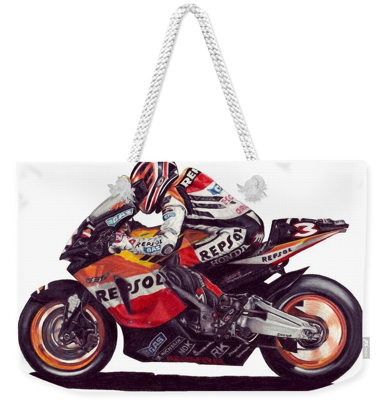 Max Biaggi Weekender Tote Bag featuring the drawing Biaggi by Kristen Wesch