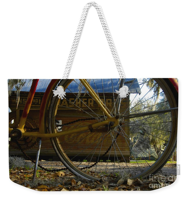 Bicycle Weekender Tote Bag featuring the photograph Bicycle At Micanopy by David Lee Thompson