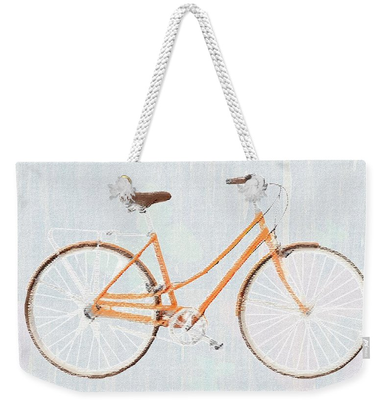 Bicycle Weekender Tote Bag featuring the painting Bicycle Blues by Priscilla Wolfe
