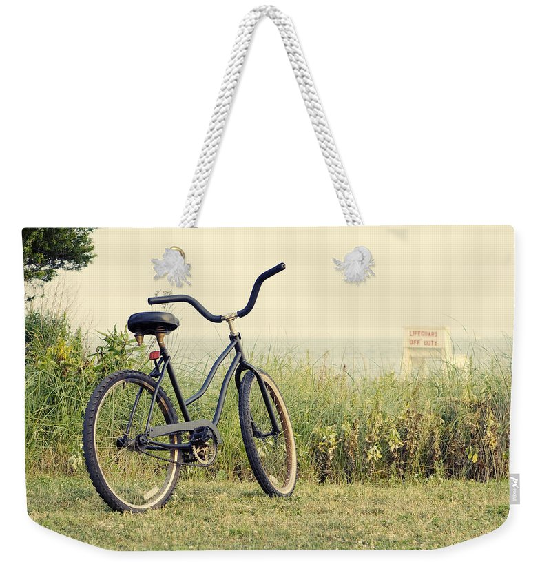 Beach Weekender Tote Bag featuring the photograph Bicycle On Beach Summer's On The Coast by Stephanie McDowell