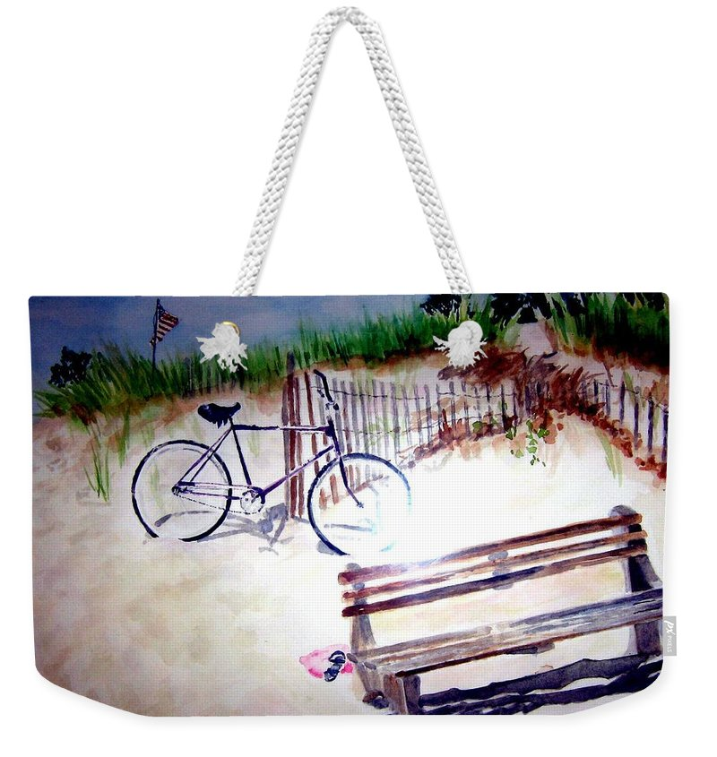 Bicycle Weekender Tote Bag featuring the painting Bicycle On The Beach by Sandy Ryan