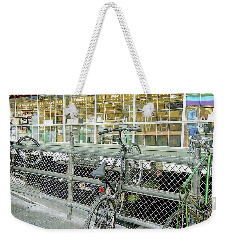 Bicycle Rack Weekender Tote Bag featuring the photograph Bicycle Rack by Linda Carruth