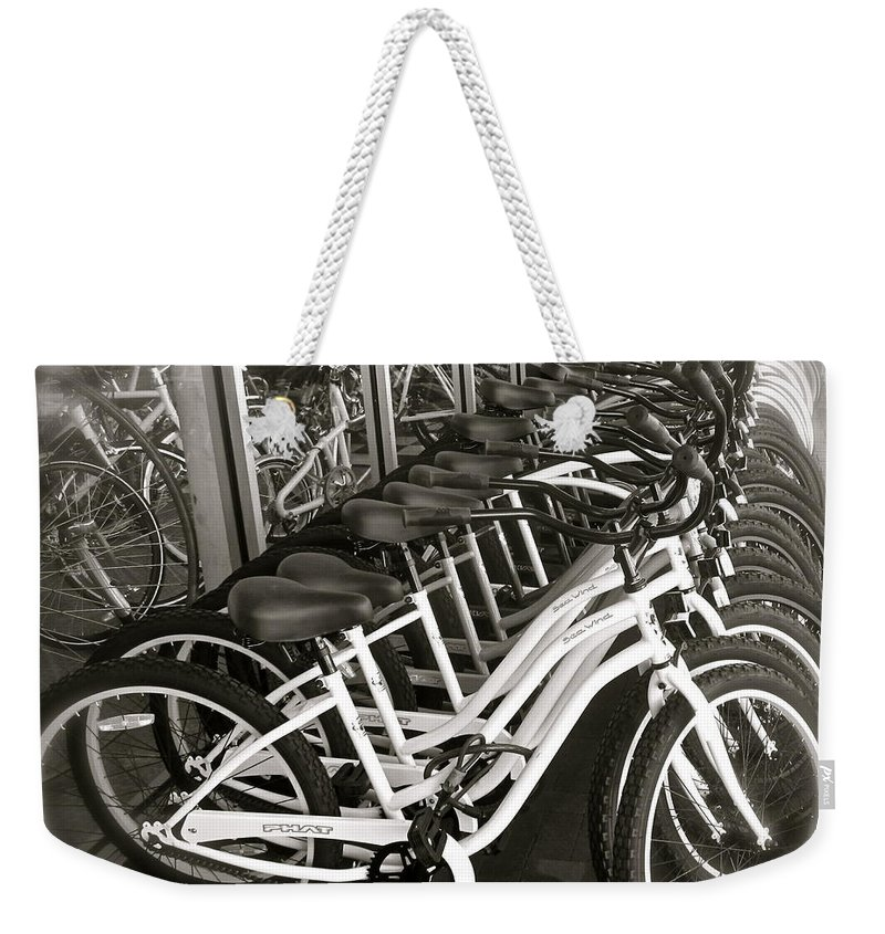 Bicycles Weekender Tote Bag featuring the photograph Bicycles In Belmont Shore by Gwyn Newcombe