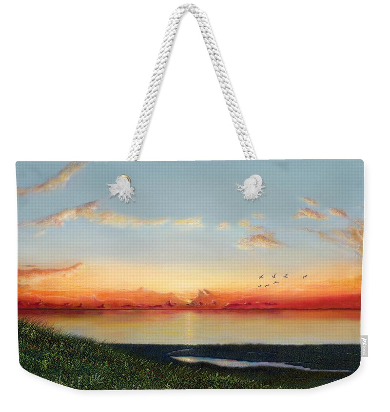 Big Assawoman Bay Weekender Tote Bag featuring the painting Big Assawoman Bay by Albert Puskaric