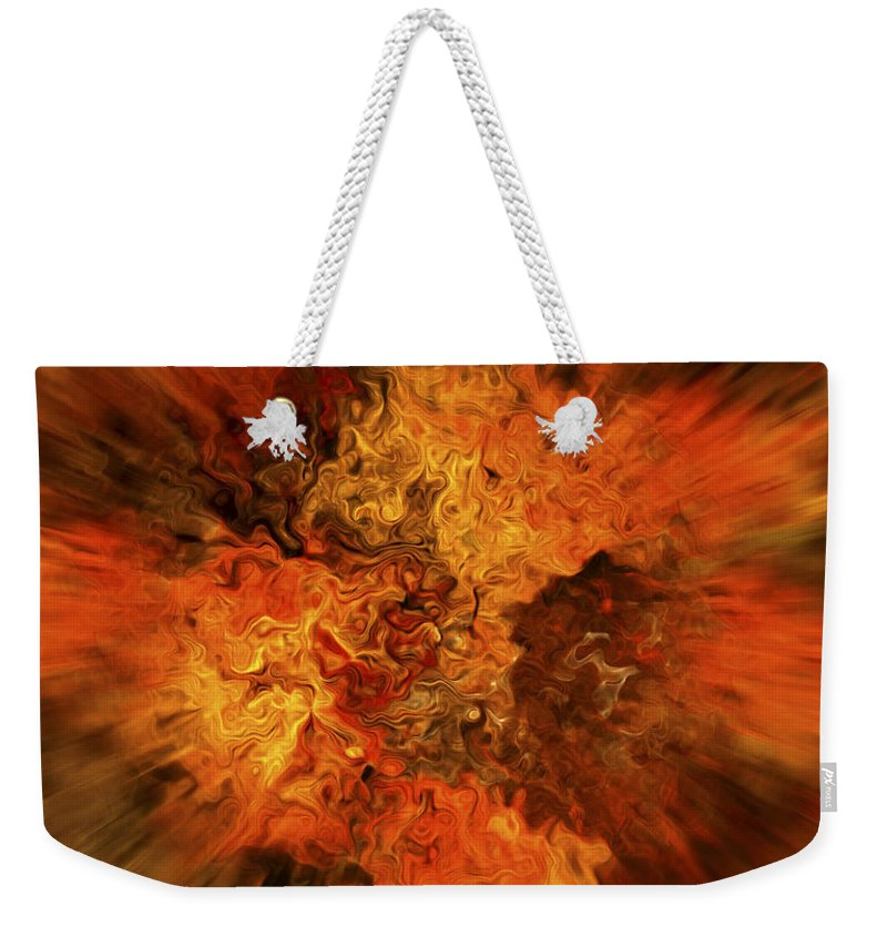 Abstract Weekender Tote Bag featuring the digital art Big Band - Fiery Cloud by Michal Boubin