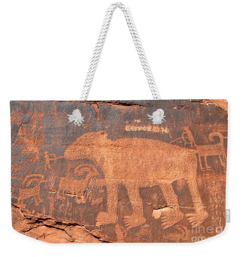 Petroglyph Weekender Tote Bag featuring the photograph Big Bear Petroglyph by David Lee Thompson