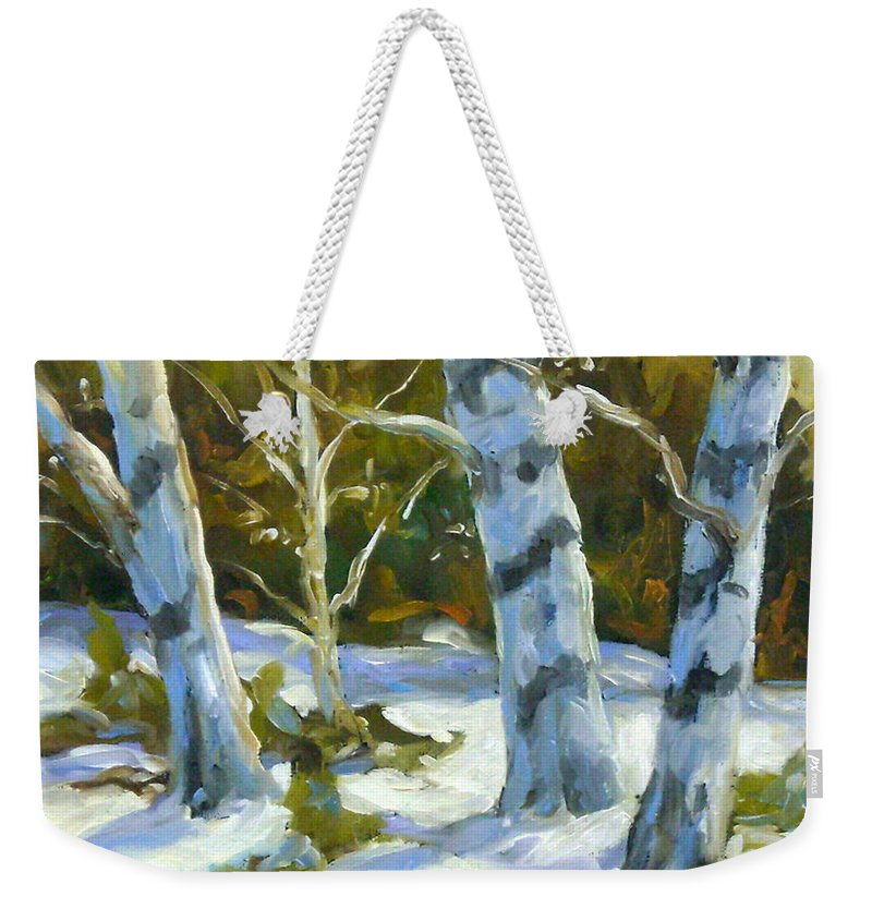 Art Weekender Tote Bag featuring the painting Big Birches In Winter by Richard T Pranke