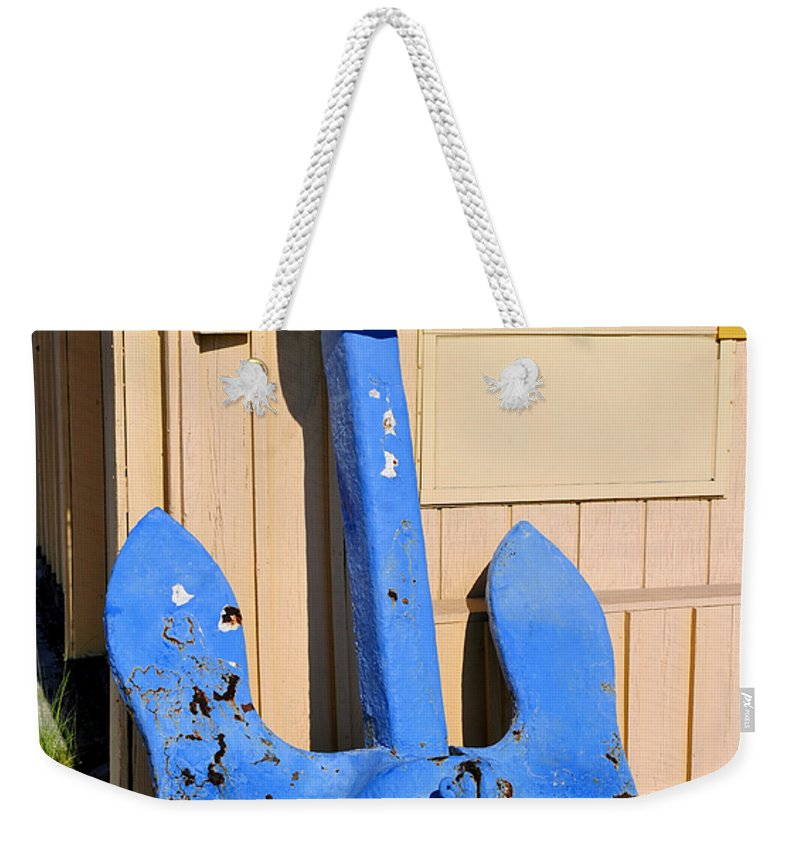 Fine Art Photography Weekender Tote Bag featuring the photograph Big Blue Anchor by David Lee Thompson