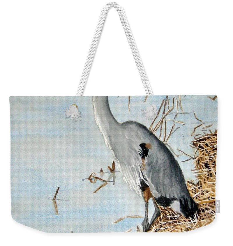Water Weekender Tote Bag featuring the painting Big Blue by Julia Rietz
