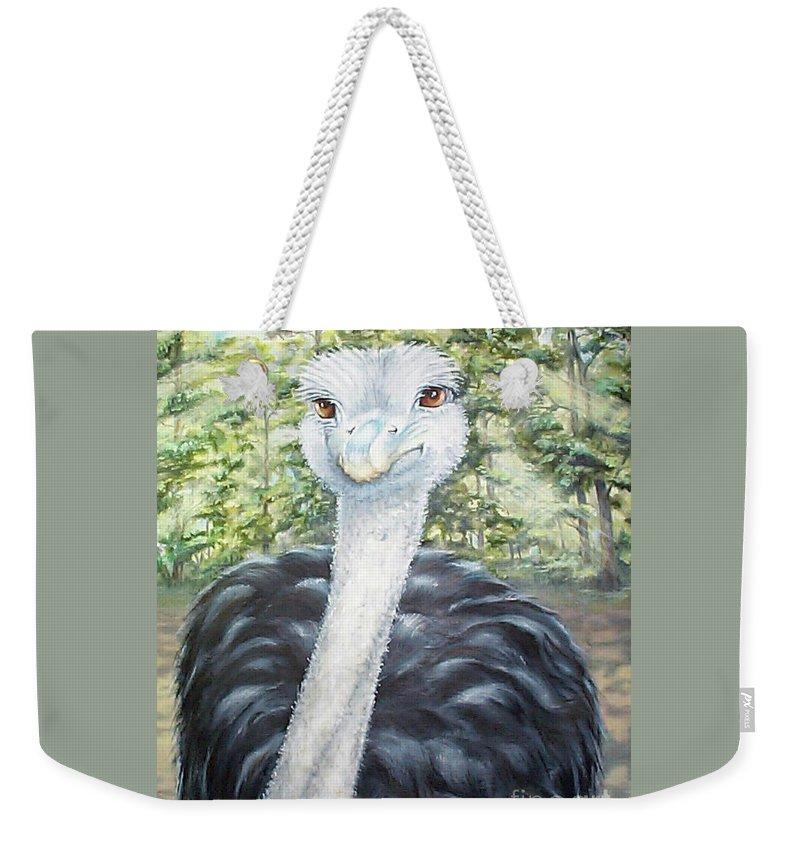Fuqua Gallery-bev-artwork Weekender Tote Bag featuring the painting Big Brown Eyes by Beverly Fuqua