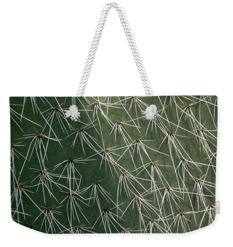 Big Cactus Weekender Tote Bag featuring the photograph Big Cactus Pins. Close-up by Sofia Metal Queen