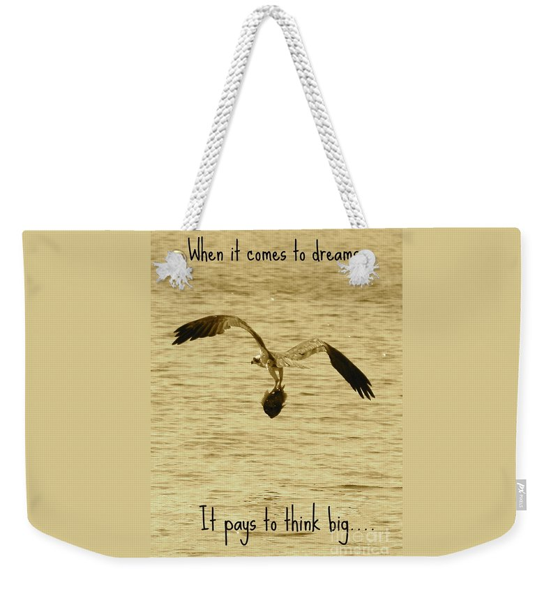 Osprey Weekender Tote Bag featuring the photograph Big Dreams by Carol Groenen