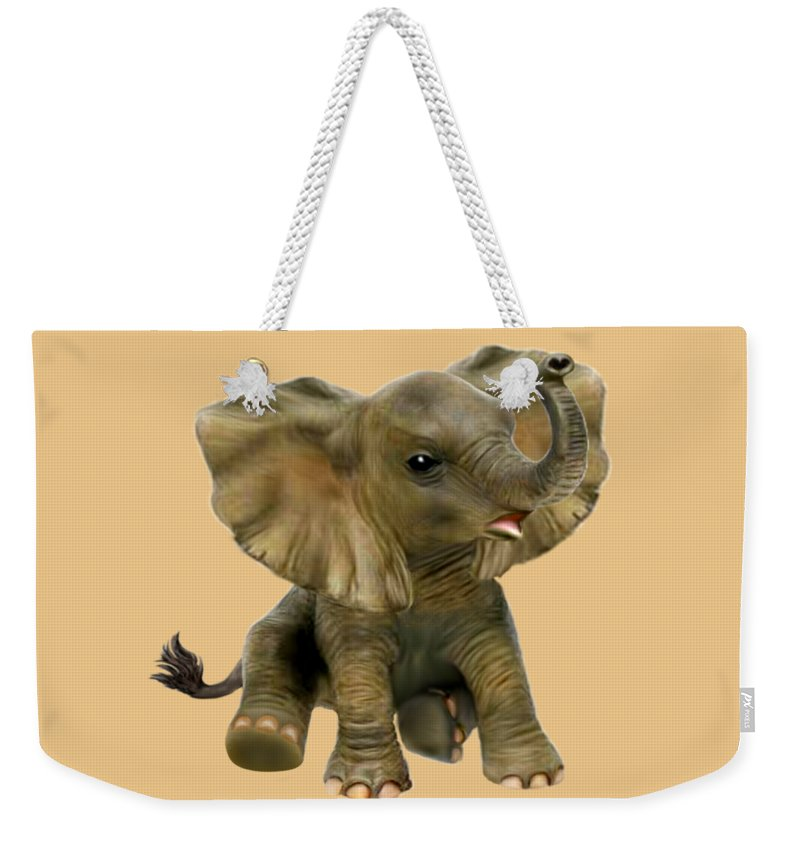 Baby Elephant Weekender Tote Bag featuring the digital art Beautiful African Baby Elephant by Glenn Holbrook