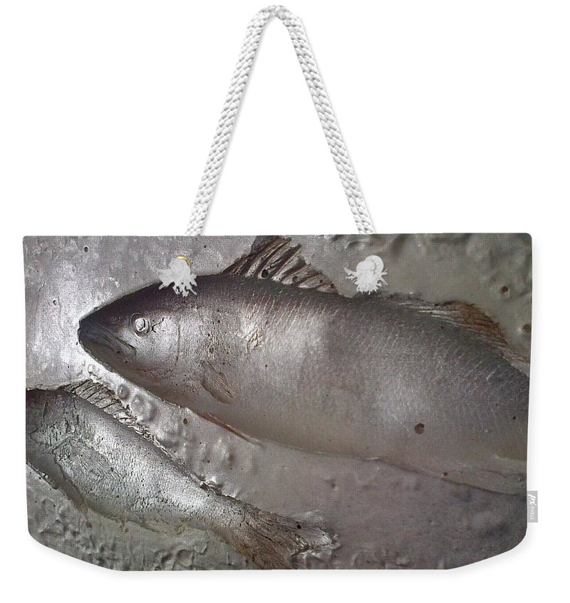 Big Fish Weekender Tote Bag featuring the painting The Perfect Shower Curtain-big-fish-also At Big.fishery.webs.com by Gerard Brennan