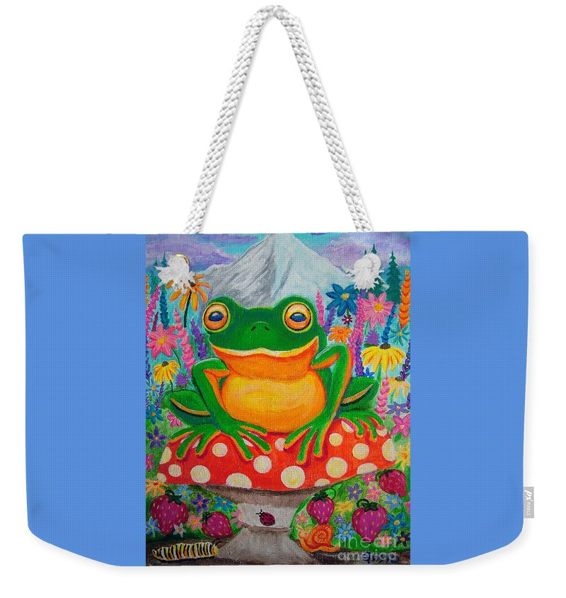 Frog Weekender Tote Bag featuring the painting Big Green Frog On Red Mushroom by Nick Gustafson