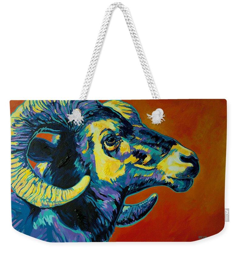 Ram Weekender Tote Bag featuring the painting Big Horn Sheep by Derrick Higgins