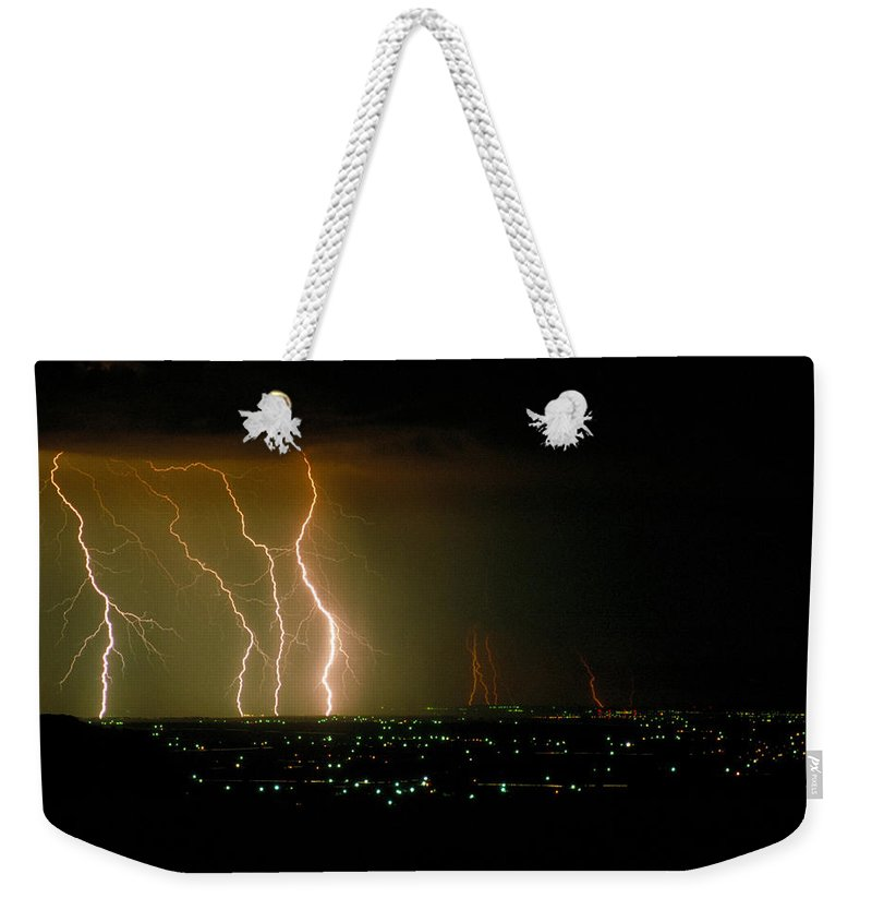 Storm Weekender Tote Bag featuring the photograph Big Lightning by Jerry McElroy