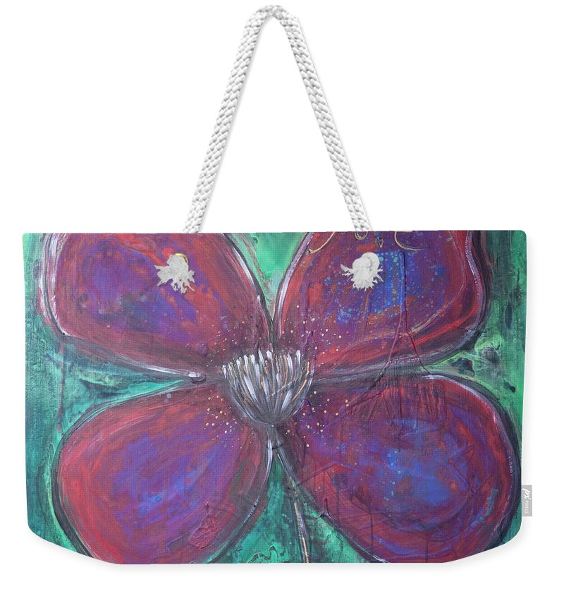 Poppy Weekender Tote Bag featuring the painting Big Love Poppy by Laurie Maves ART