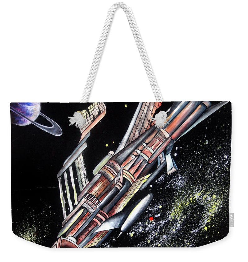 Space Weekender Tote Bag featuring the painting Big, Old Space Shuttle Of Dead Civilization by Sofia Metal Queen