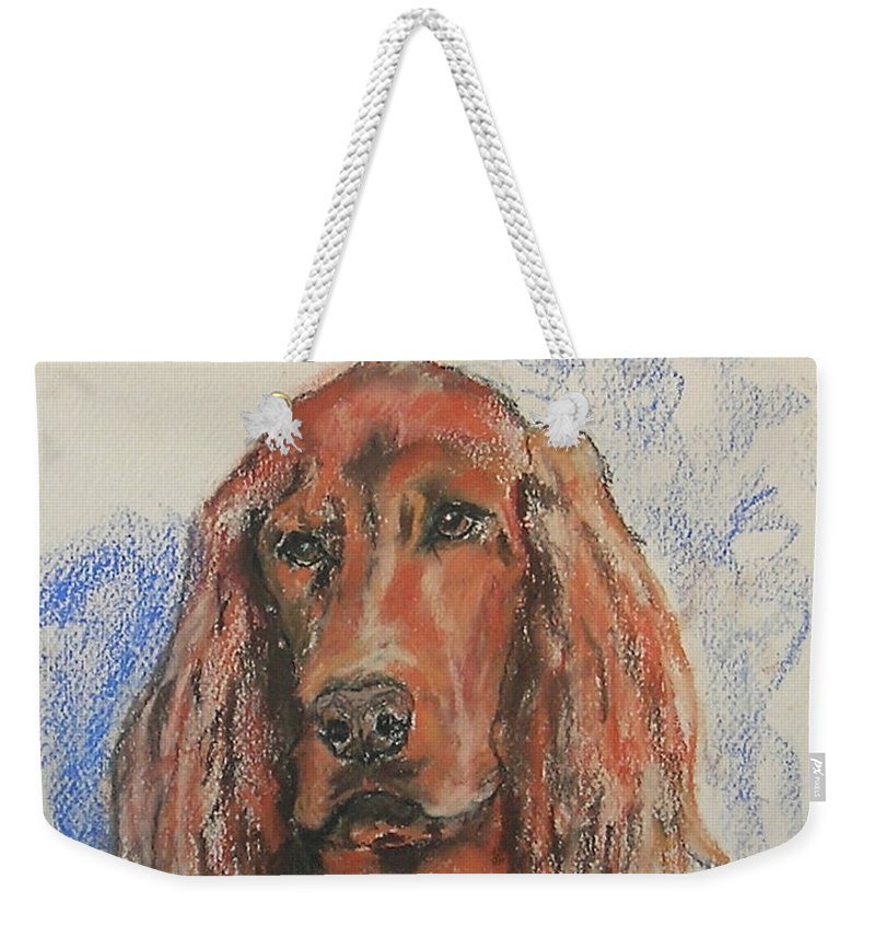 Irish Setter Weekender Tote Bag featuring the pastel Big Red by Cori Solomon