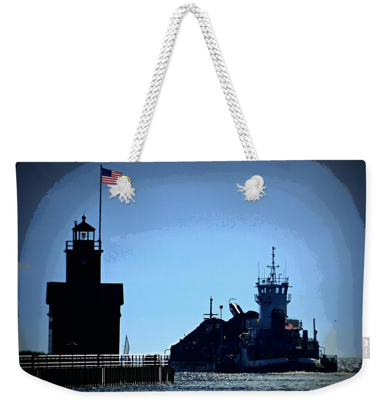 Lighthouse Weekender Tote Bag featuring the photograph Big Red Has Company by Scott Ward