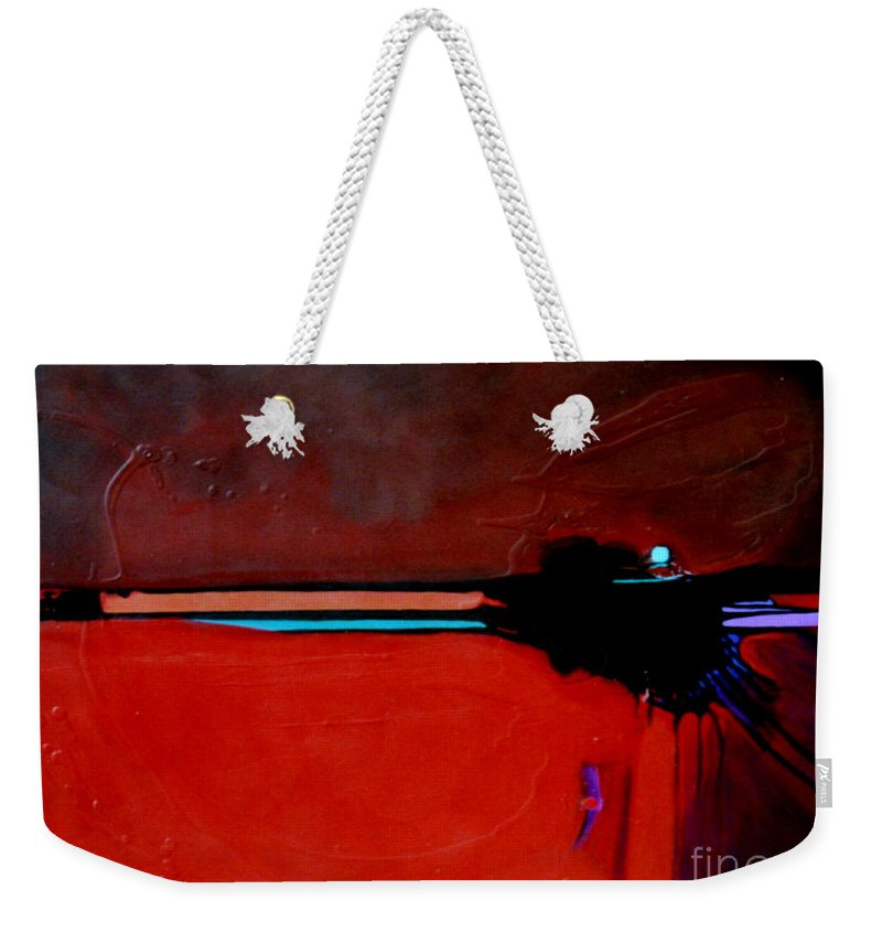 Red Weekender Tote Bag featuring the painting Big Red by Marlene Burns