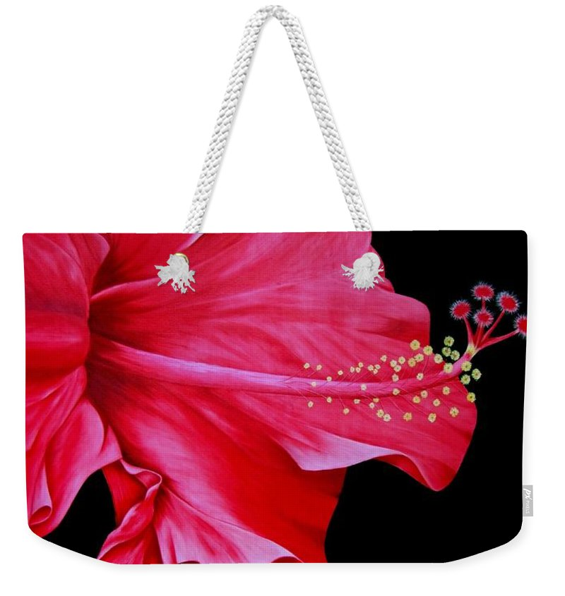 Red Flowers Weekender Tote Bag featuring the painting Big Red by Mary Deal