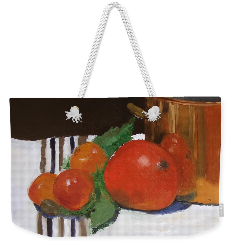 Still Life Weekender Tote Bag featuring the painting Big Red Tomato by Barbara Andolsek
