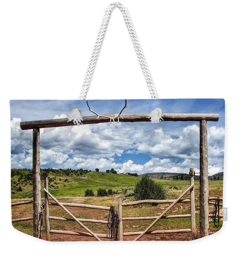 Colorado Ranch Country Weekender Tote Bag featuring the photograph Black Mountain Ranch by LeAnne Perry