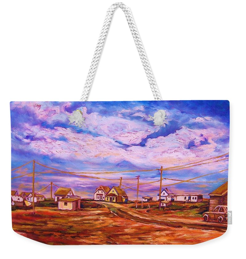 Cloudscapes Weekender Tote Bag featuring the painting Big Sky Red Earth by Carole Spandau